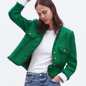 NWT Zara green textured rhinestone button blazer L